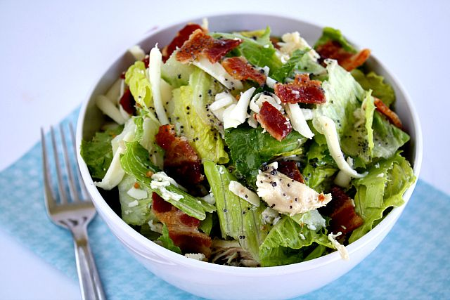 Bacon Chicken Salad with Raspberry Poppy Seed Dressing: Butter, with a Side of Bread