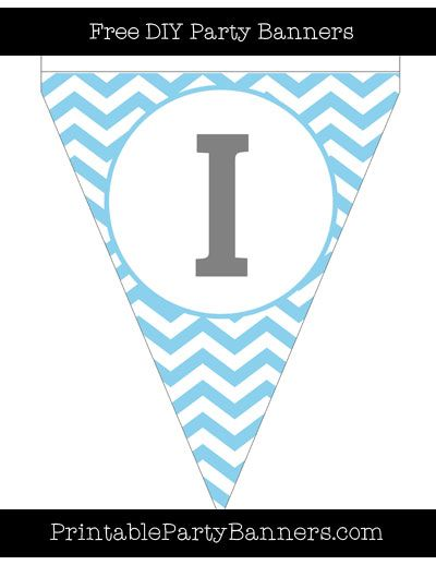 Baby Blue And White Pennant Chevron Capital Letter I Com Imagens