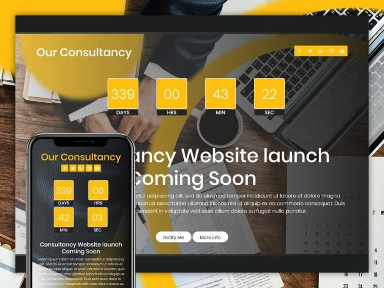 Our Consultancy Free Coming Soon Page Template Coming Soon Page Templates Page Template