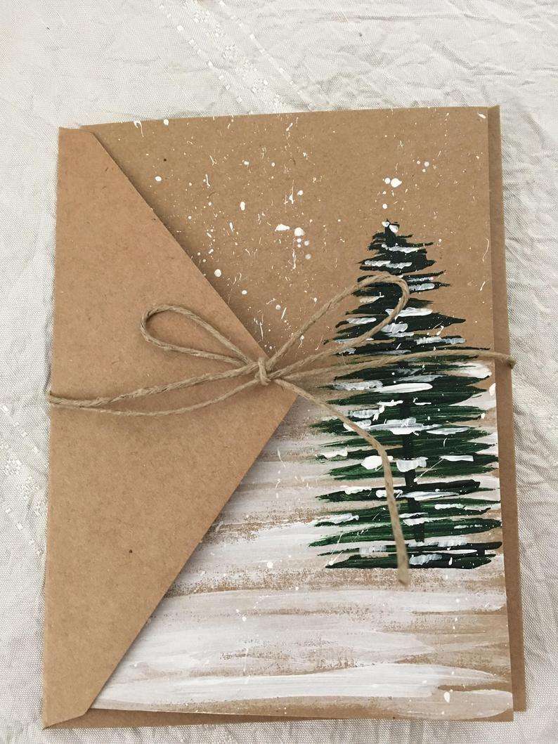 Winterkarte Bäume von Hand bemalt – Diy christmas gifts - Agli #wintercards