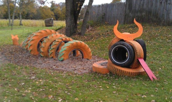 Drachen Aus Alten Reifen Selber Machen - Coole Idee | Garten ... Gartendekoration Mit Reifen