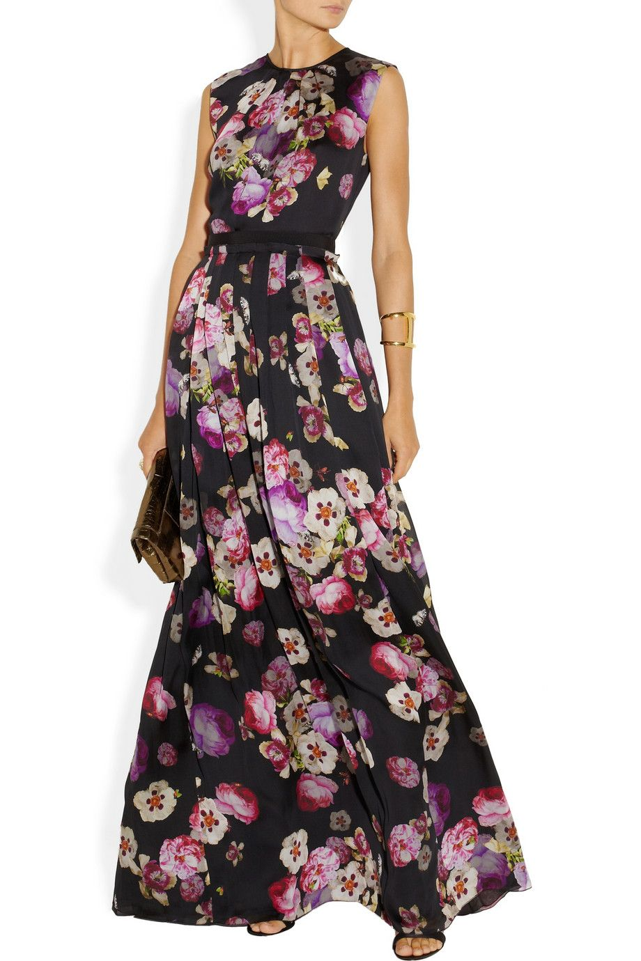 Giambattista Valli | Floral-print silk-charmeuse maxi skirt | NET ...
