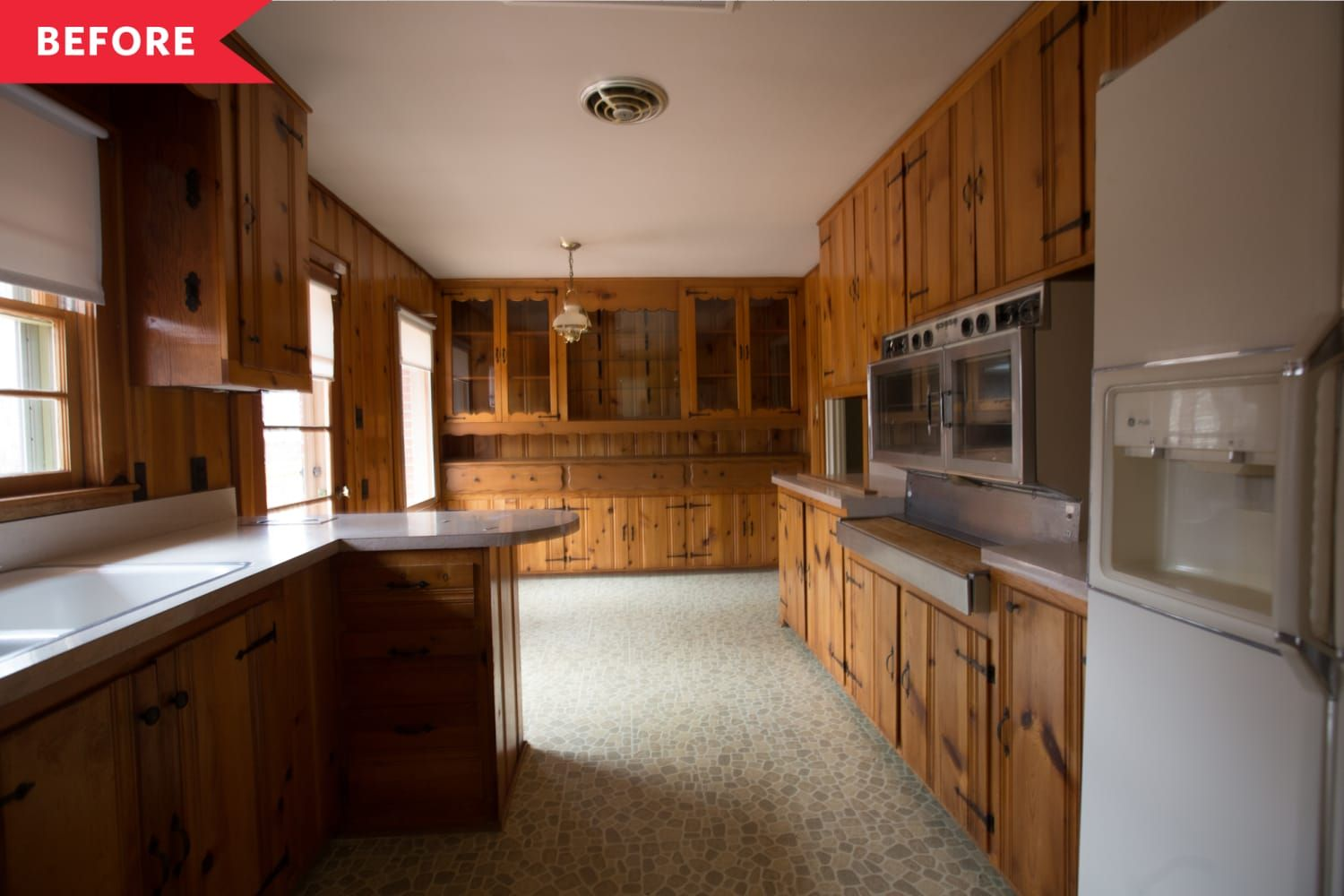 Bought Sight Unseen Before The Renovation This House Was A Mix Of Mid Century And Mid 1980s D In 2020 Knotty Pine Kitchen Wood Paneling Makeover Pine Kitchen Cabinets
