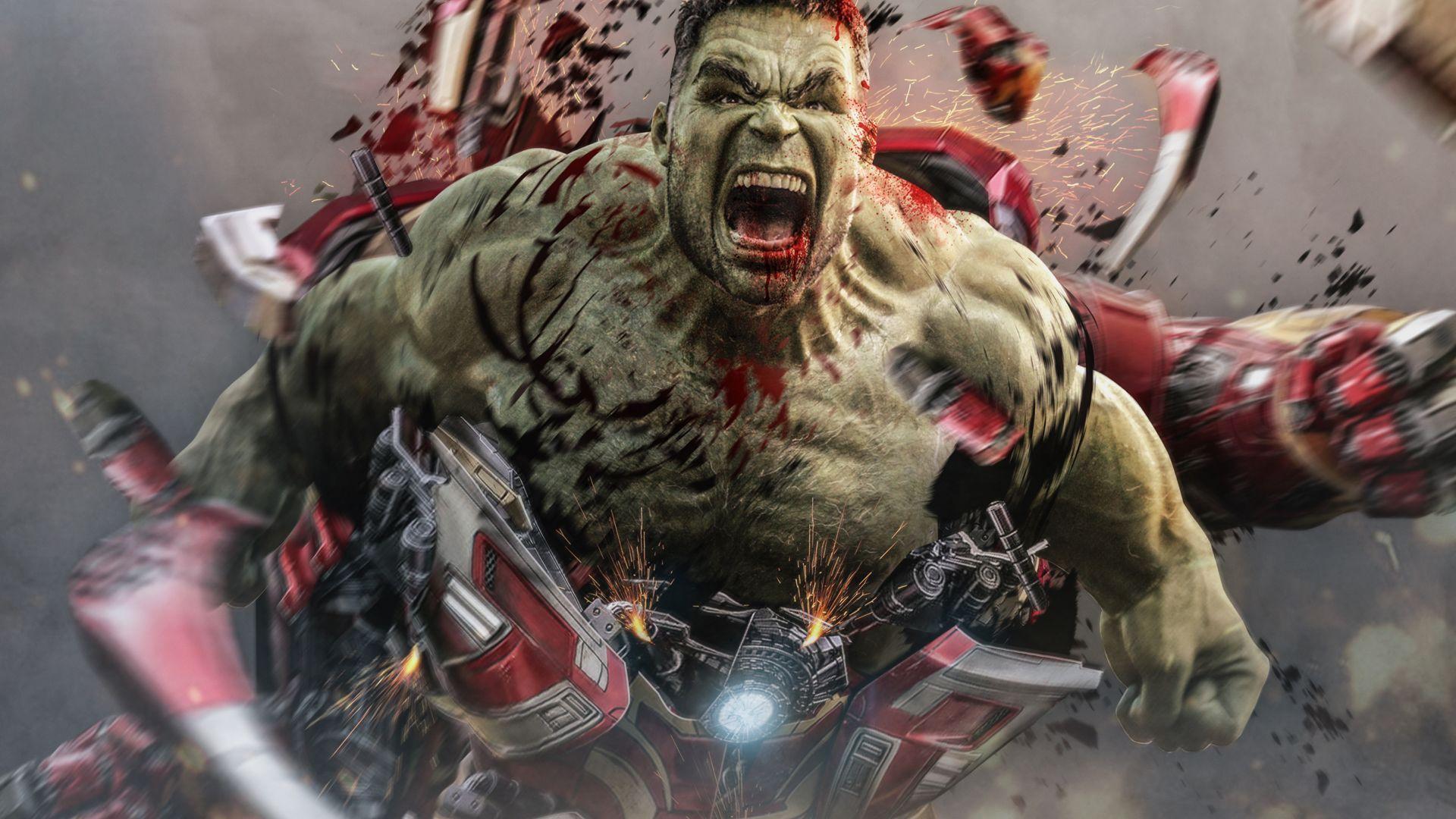 Smart Hulk bursts out from hulk buster, a concept art