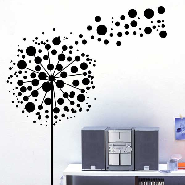 Bubbles Dandelion Flowers Wall Sticker Design