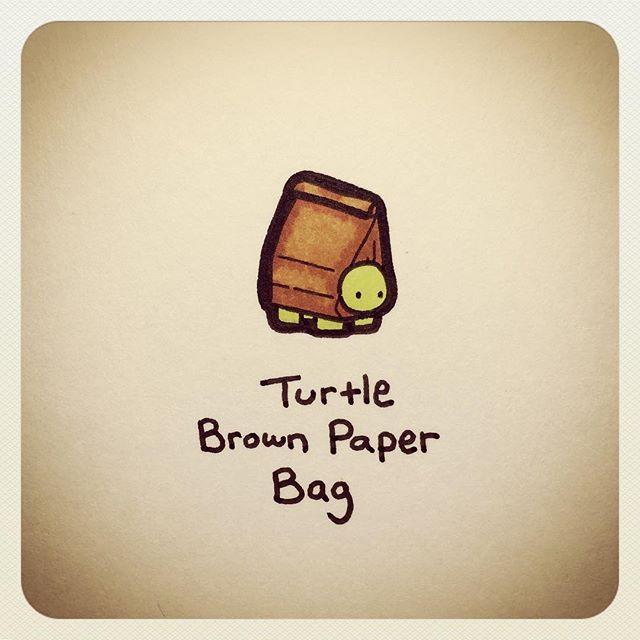 Turtle Brown Paper Bag Turtle Drawing Cute Turtle Drawings Cartoon Turtle