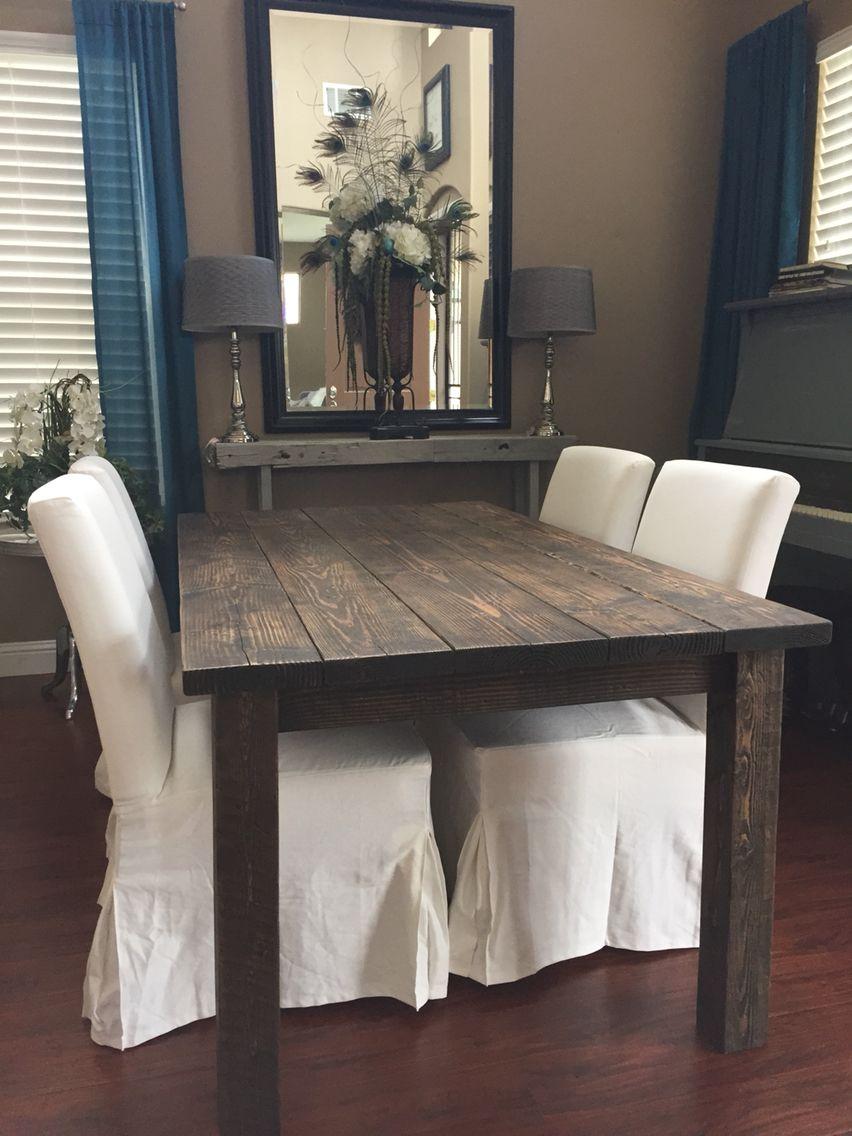 custom built farm table stained with minwax jacobean ron built rh pinterest com