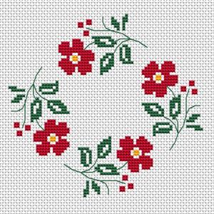 Red Flowers Wreath Cross Stitch Pattern Cross Stitch Patterns Flowers Floral Cross Stitch Cross Stitch Flowers