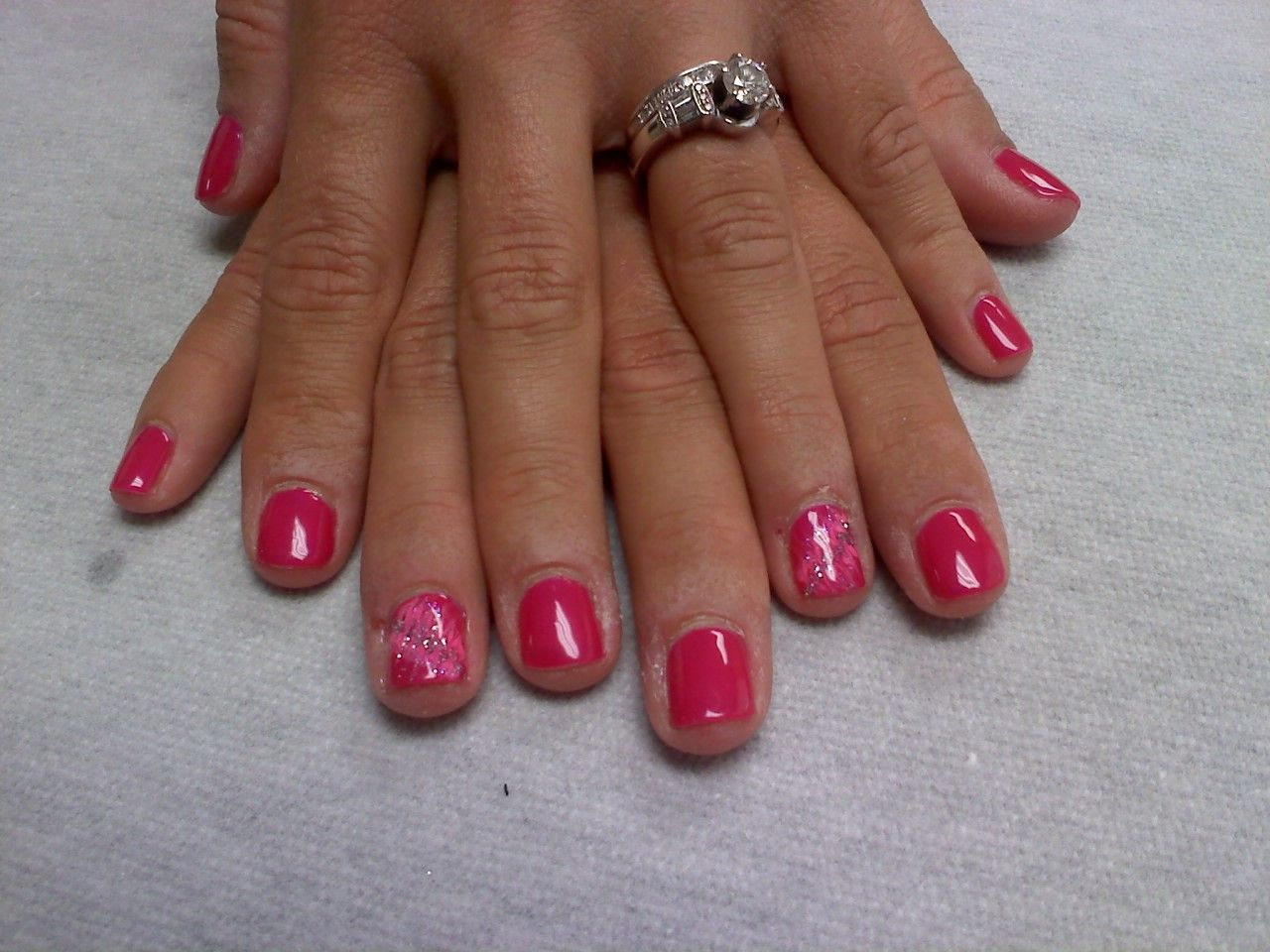 hot pink with neon pink and glitter pull through Oasis Salon and Spa Mill Hall Pa (570)726-6565