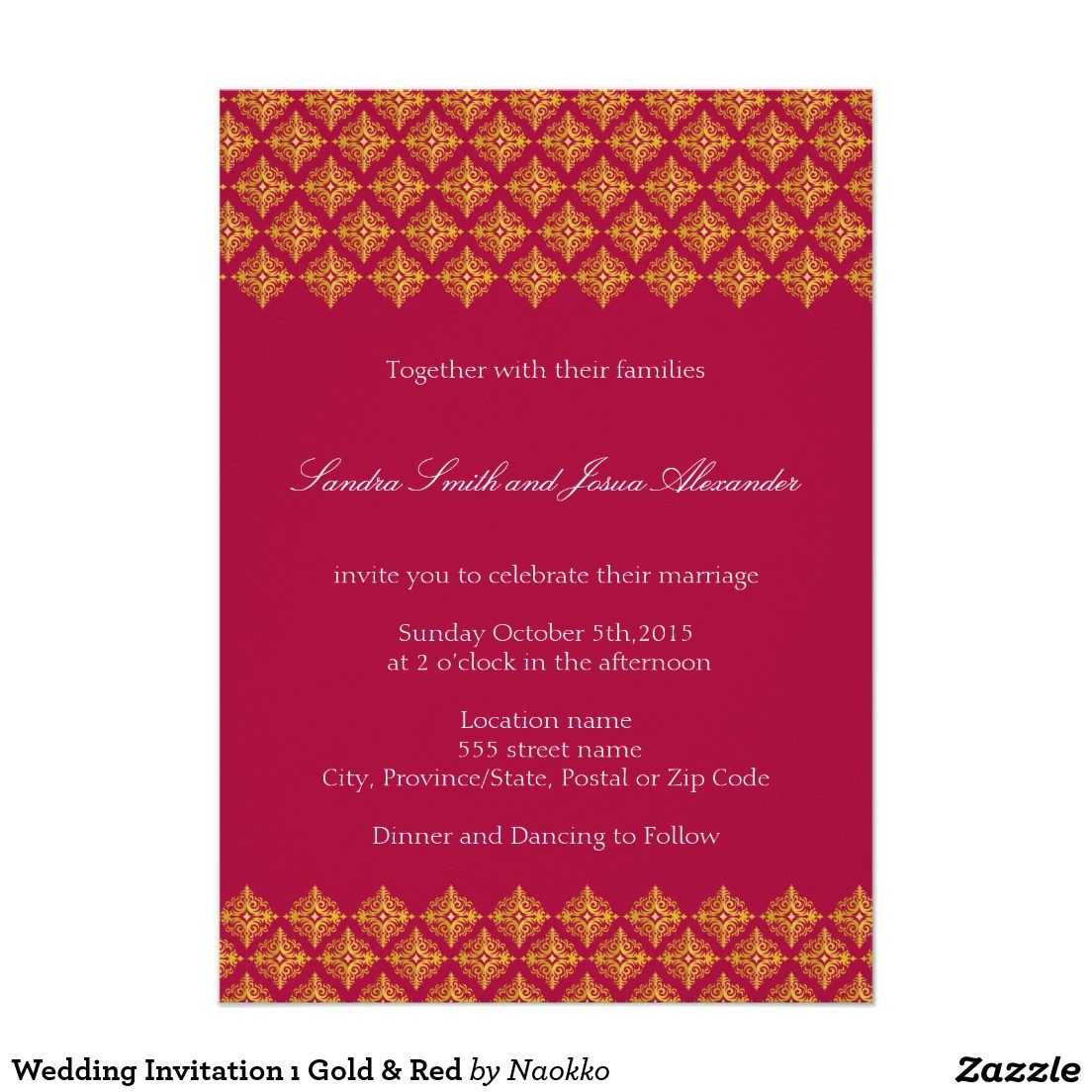 Wedding Invitation ı Gold & Red | Other Wedding Stuff (invitations ...