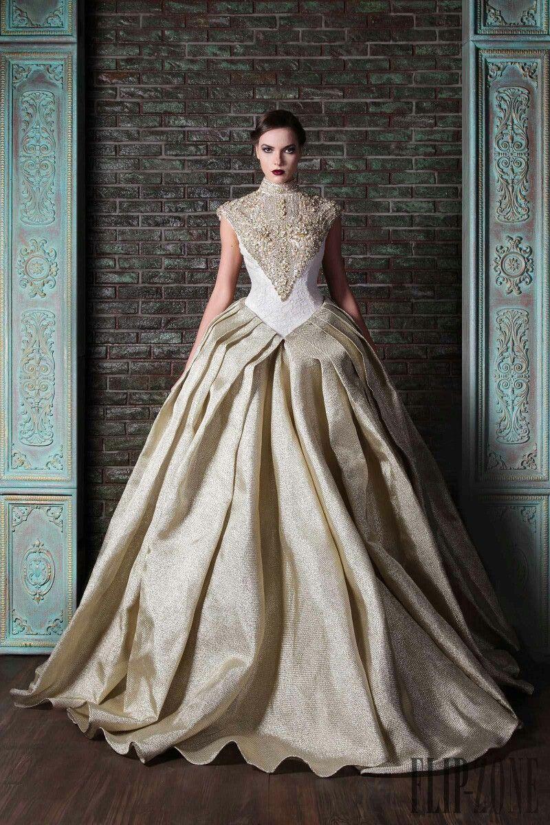 Vintage lace champagne wedding dress  Pin by Lena Kostromina on Rami Kadi  Pinterest