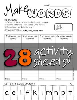 make words word work word study activity