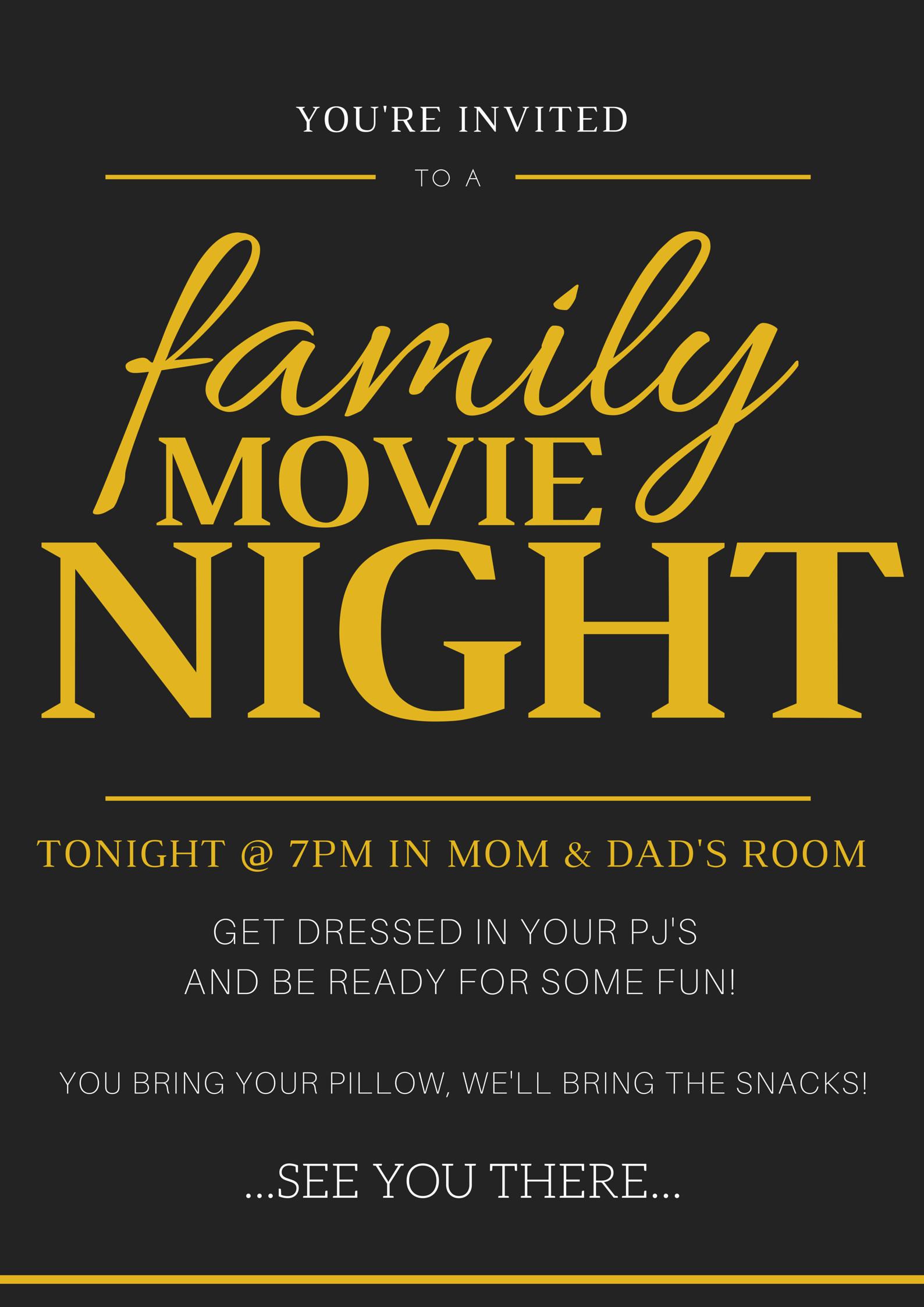 Family Movie Night Invitation+Tickets Family movie night