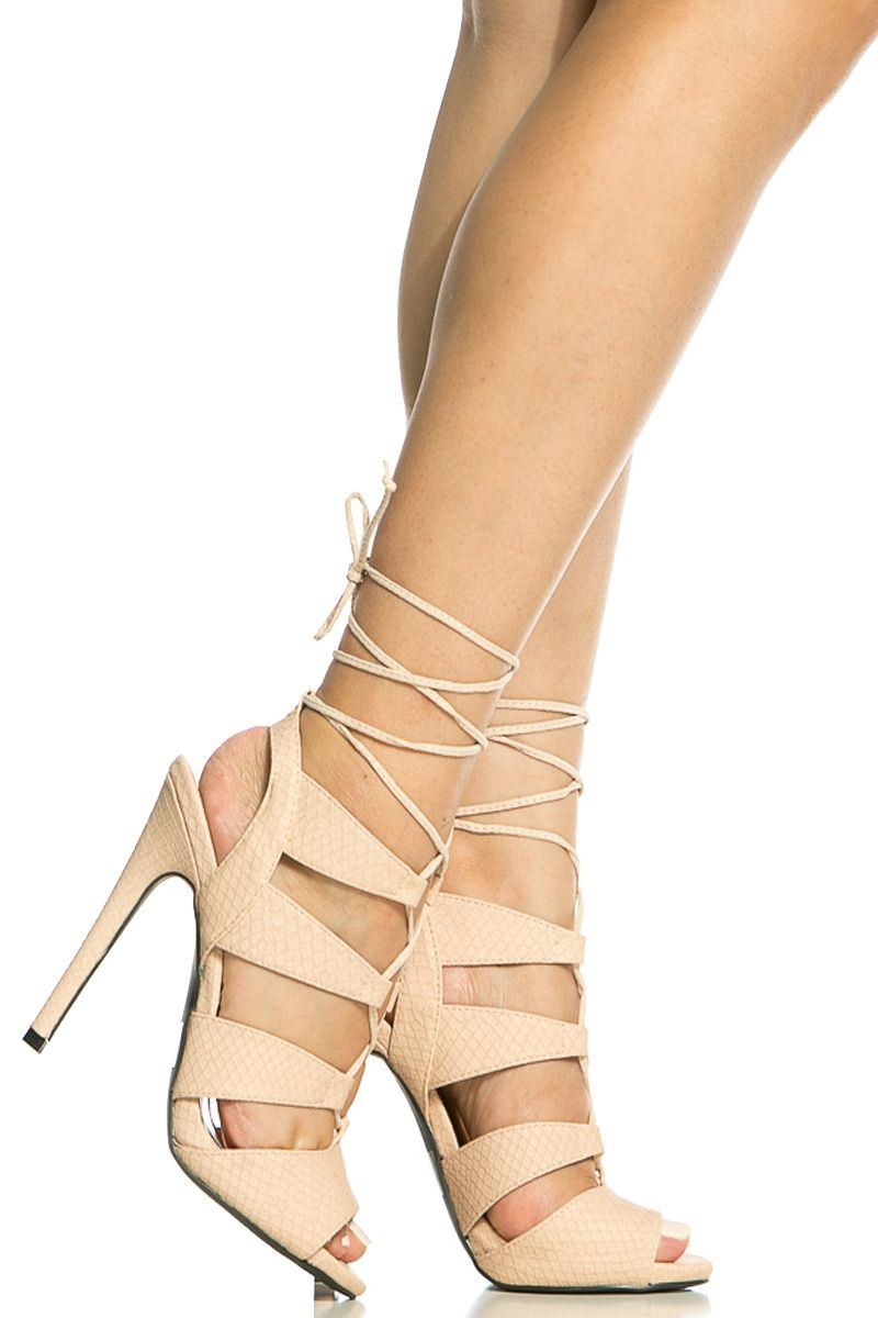 c98c8151937 Nude Faux Snake Skin Lace Up Single Sole Heels   Cicihot Heel Shoes online  store sales Stiletto Heel Shoes