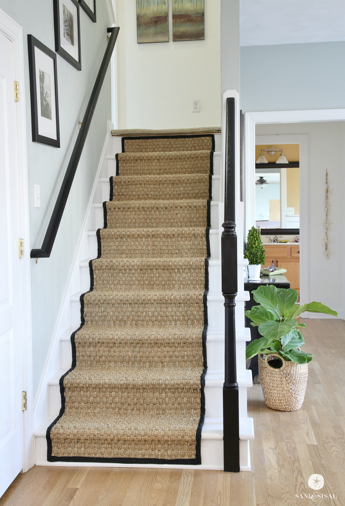 Painted Staircase Makeover With Seagrass Stair Runner Diy