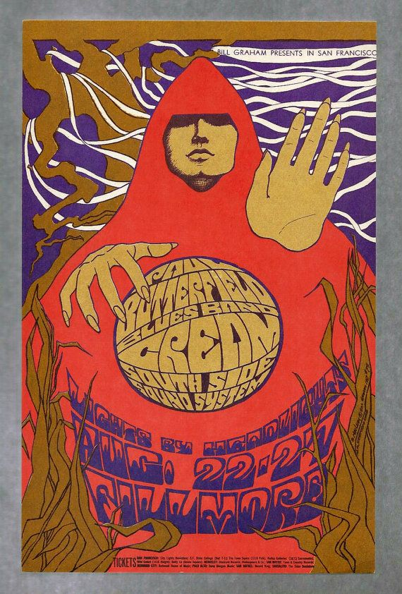 This is an Original Butterfield/Cream Postcard (BG 079-PC) ) Aug 22-27, 1967 Fillmore Auditorium (San Francisco, CA) Performers: Cream; The Paul