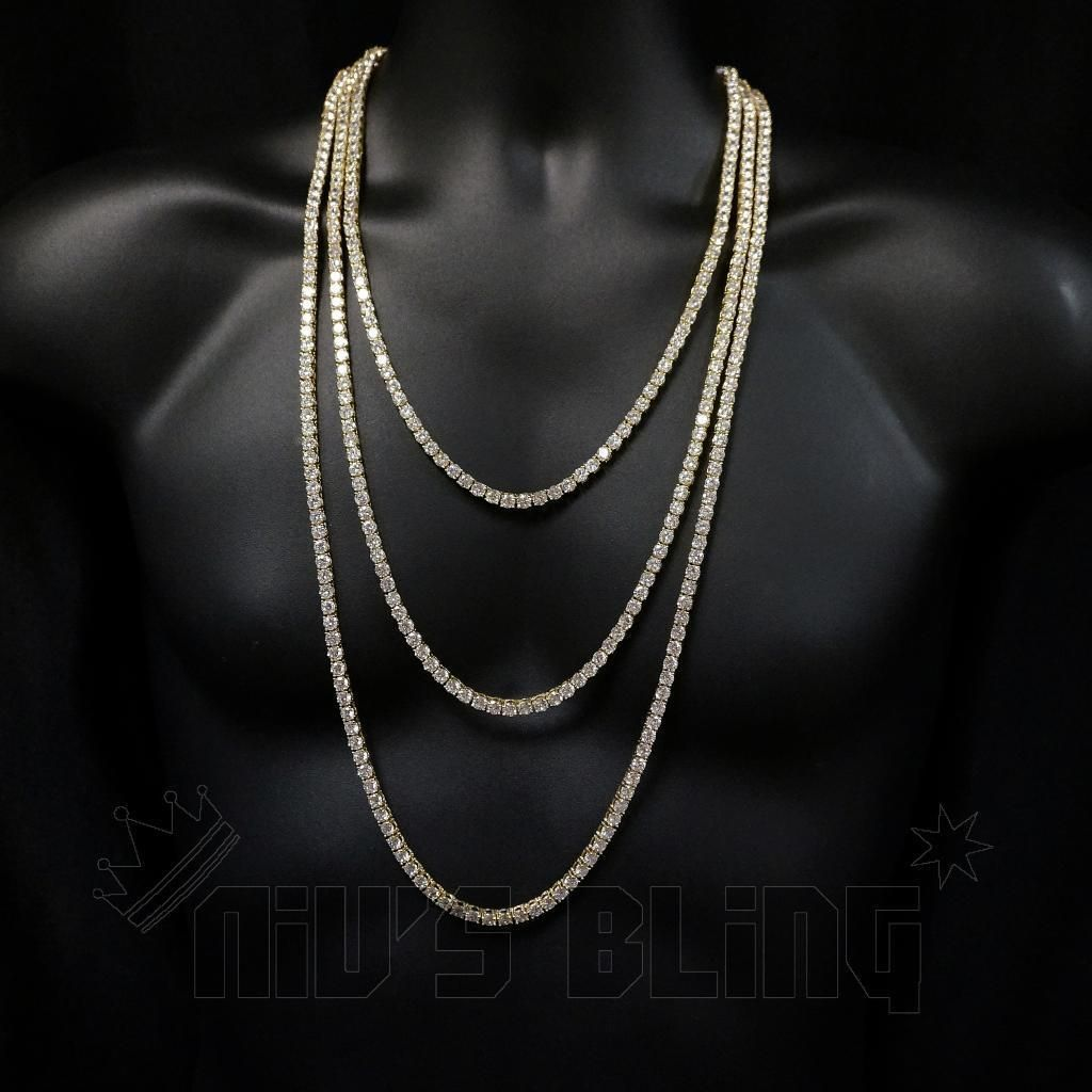 18k Gold 1 Row 5mm Lab Diamond Iced Out Chain Men S Hip Hop Tennis Necklace Ebay Diamond Necklace Designs Necklace Diamond Tennis Necklace