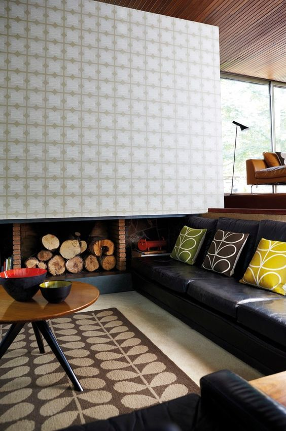 A stylised geometric flower in fine horizontal lines in a tile - moderne tapeten wohnzimmer