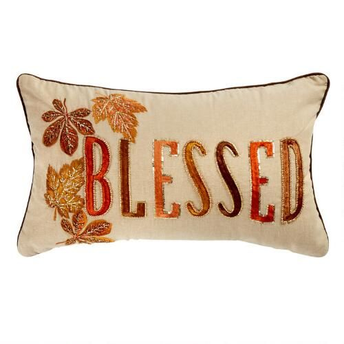 One Of My Favorite Discoveries At Christmastreeshops Com Blessed Leaf Embellished Oblong Throw Harvest Pillows Harvest Decorations Fall Harvest Decorations