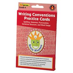 Brain Blasters Writing Conventions Practice Cards - Grade 4