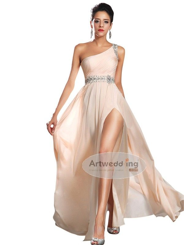 Chiffon One Shoulder Slit Prom Dress