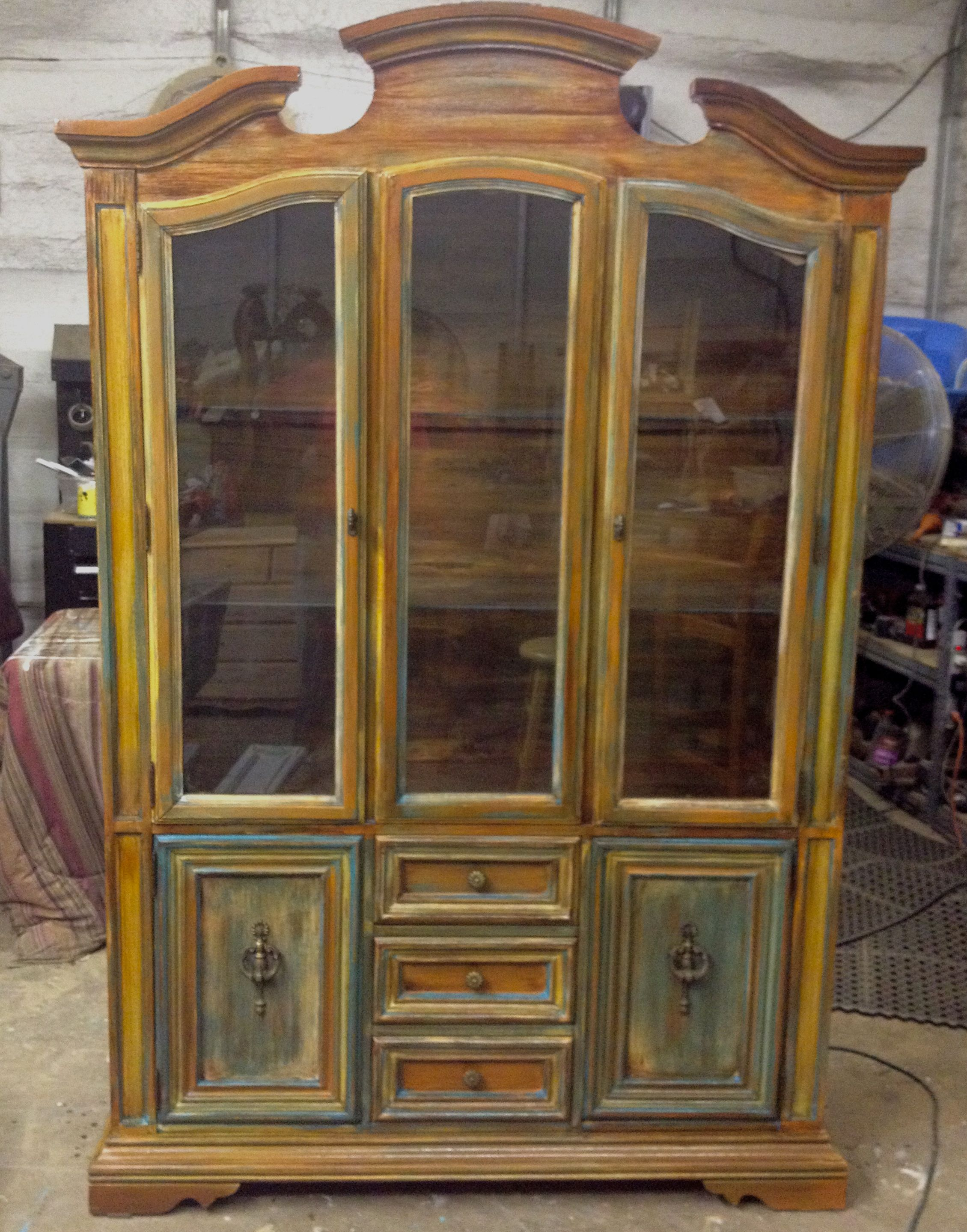 Beautiful China Cabinet Done In Milk Paint Chalk And Glaze Shabby Chic 450 00