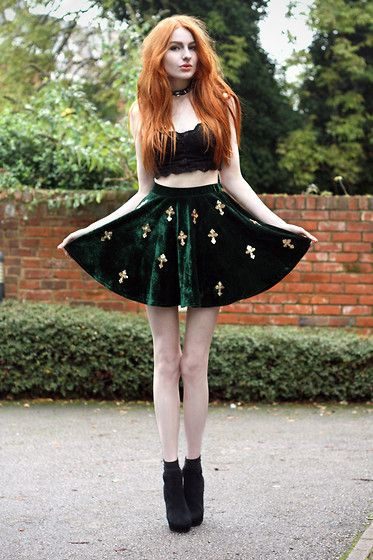 ginger hair green velvet cross skirt boots heels platforms crop top bandeau  lace black db90cef8b
