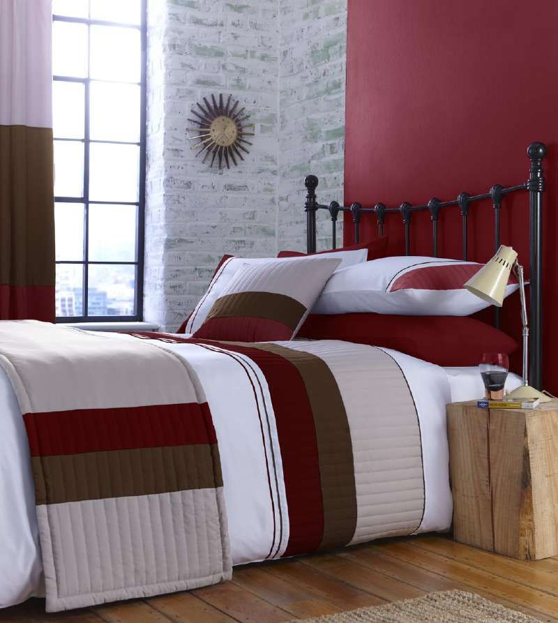 Tan And Black Bedroom Bedroom Curtains Ikea Master Bedroom Bed Design Bedroom Colour Ideas: Red Beige And Cream Stripe Bedding Or Curtains Or