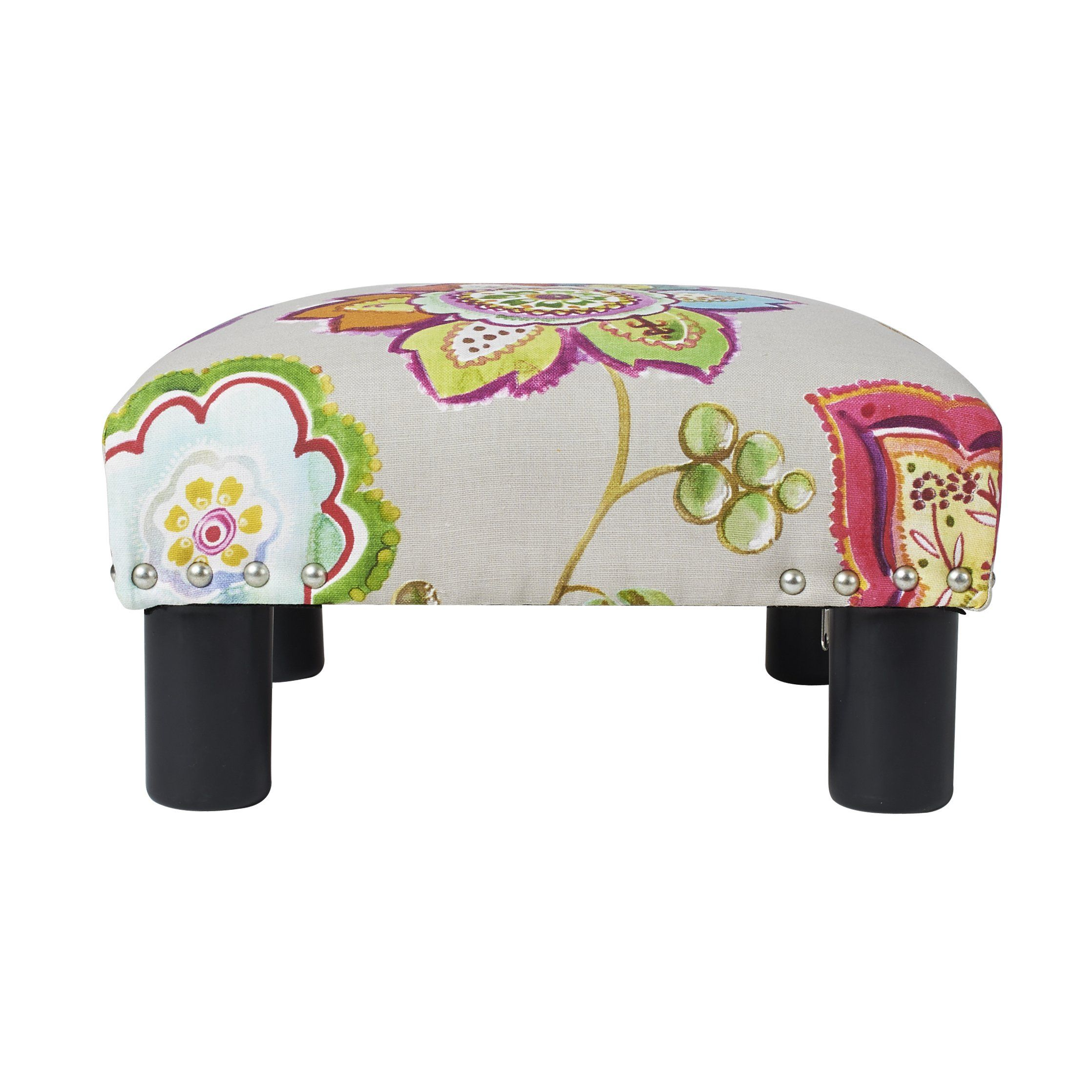 Jennifer Taylor Home Jules Collection Contemporary Nailhead Trim Accent Ottoman Bench Multicolor