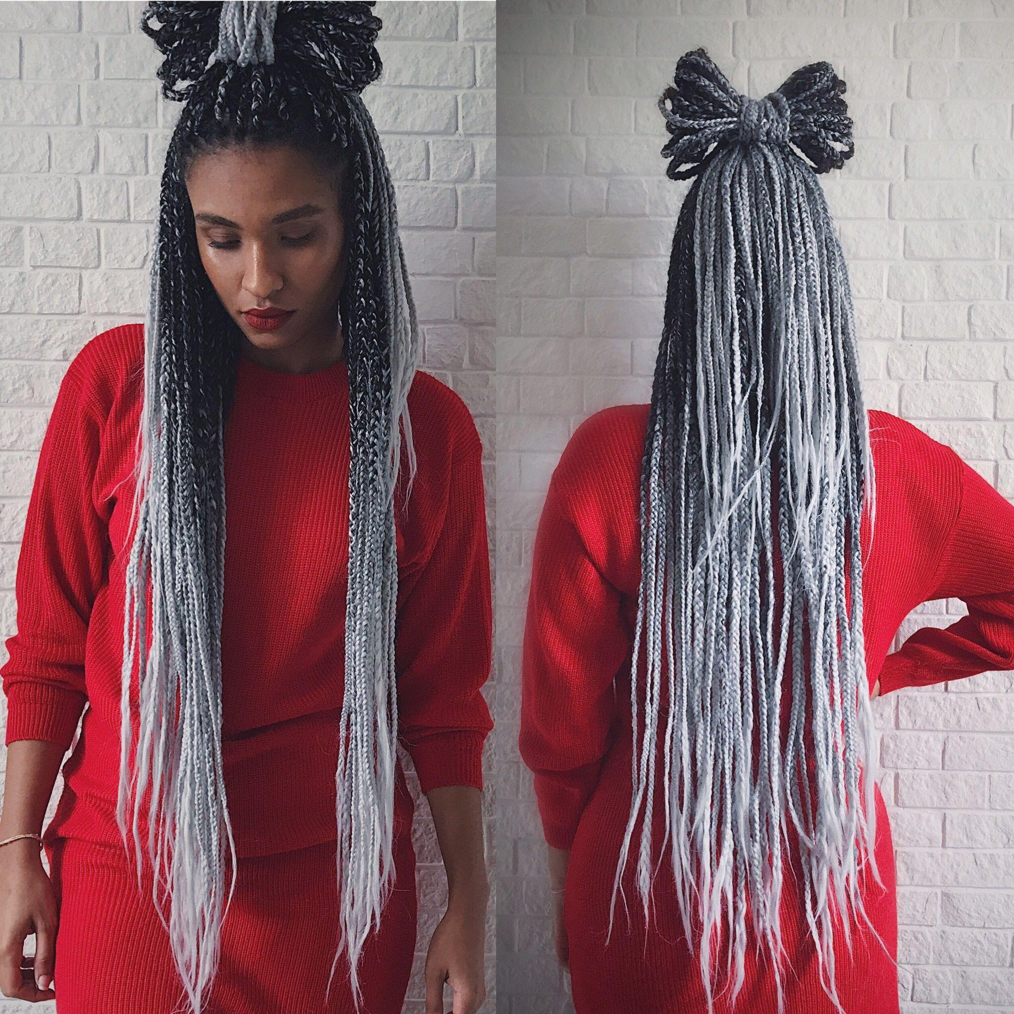 Afropower Instagram Nakittahannah Boxbraids Grey Greyhair