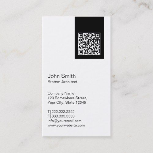 Modern Qr Code System Architect Business Card Zazzle Com Qr Code Business Card Business Card Template Design Professional Business Card Design