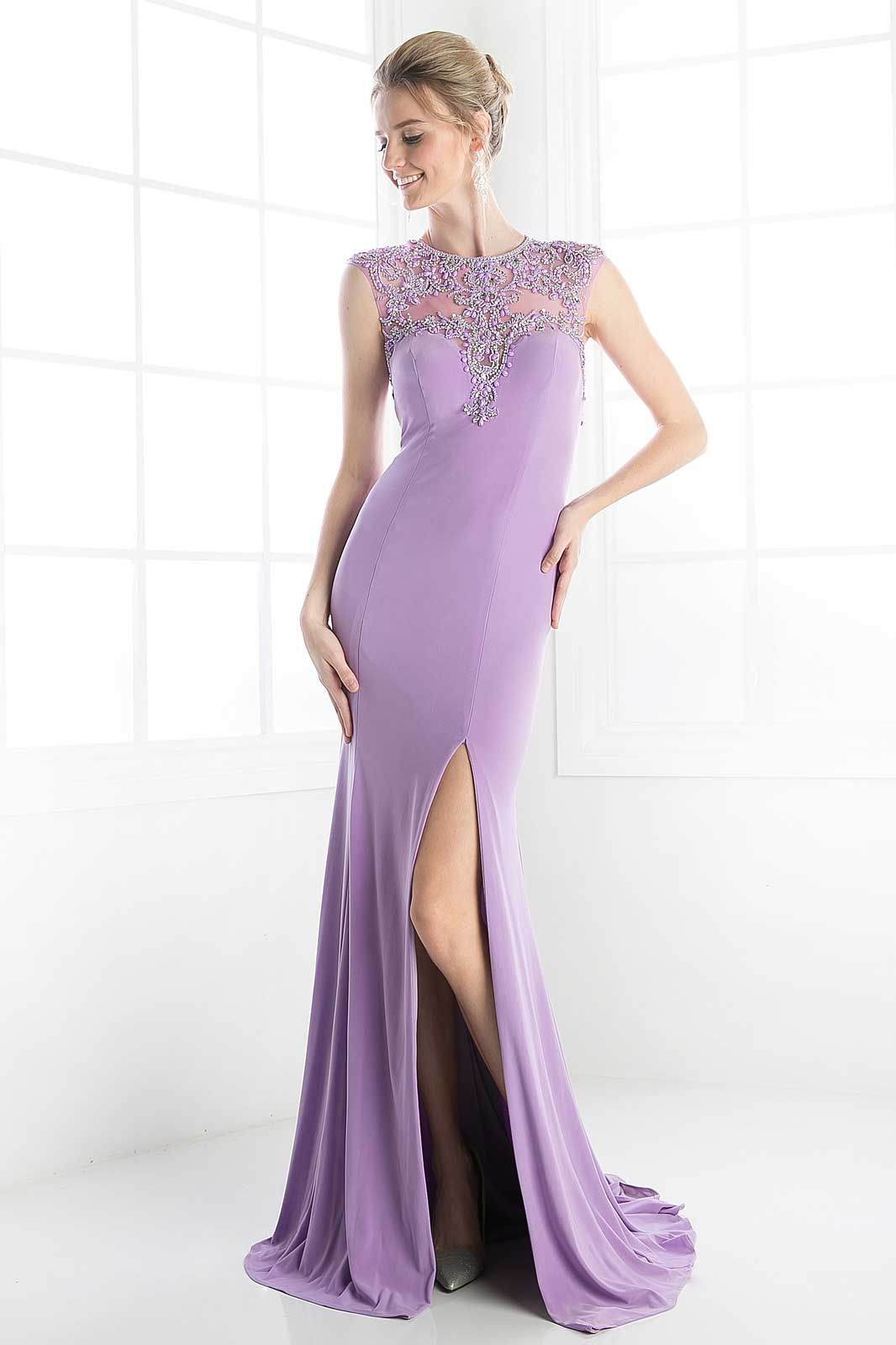 Lavender long evening gown with high slit cfashion