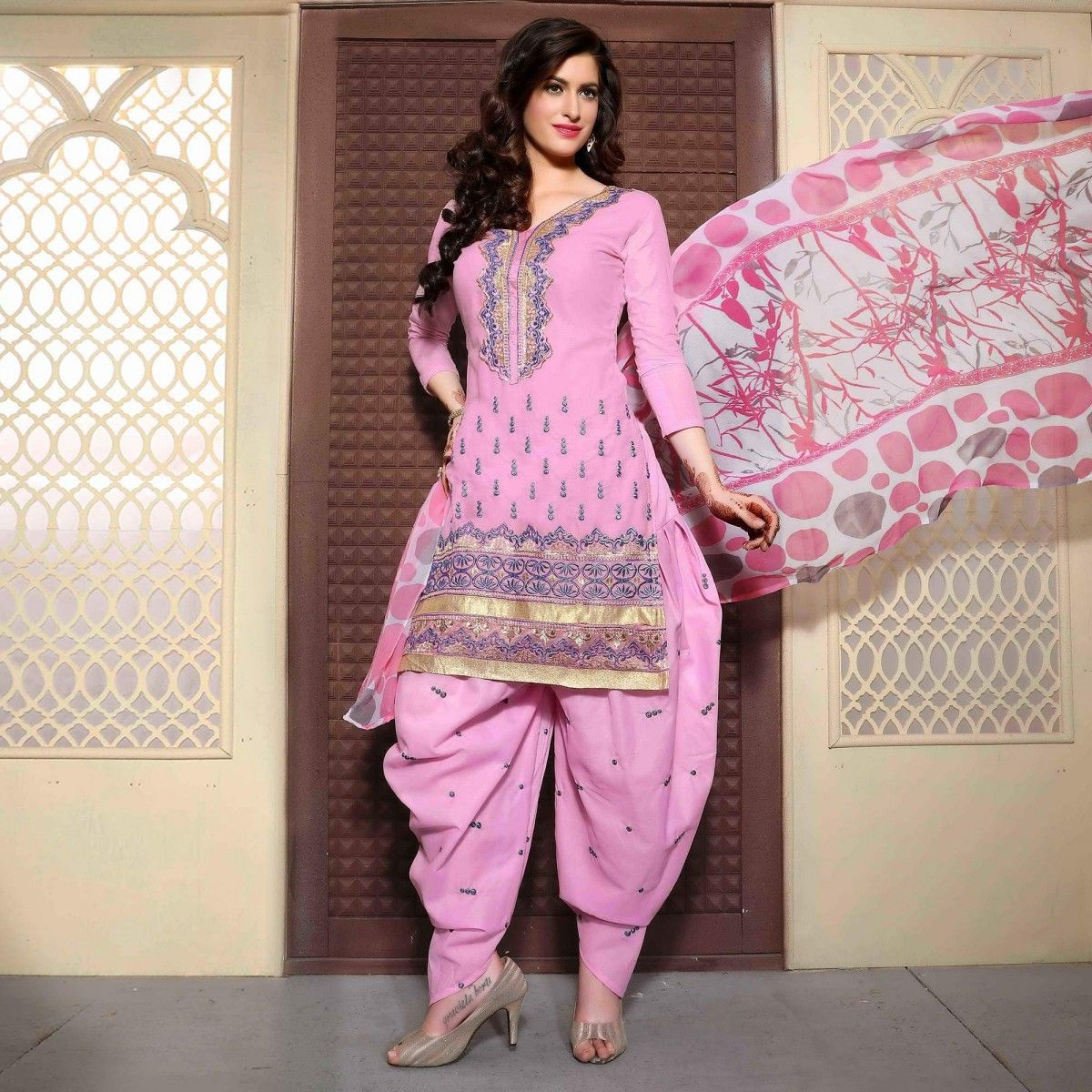 Buy Pink Festive Wear Cotton Patiala Suit for womens online India ...