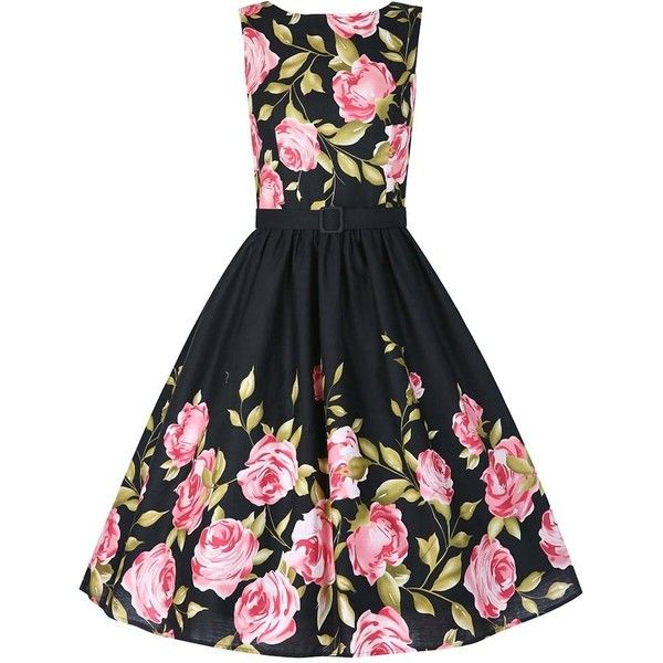 'Audrey' Pink Rose Border Swing Skirt ($50) ❤ liked on Polyvore featuring skirts, dresses, black, patterned skater skirt, bow skater skirt, skater skirt, print skater skirt and swing skirt