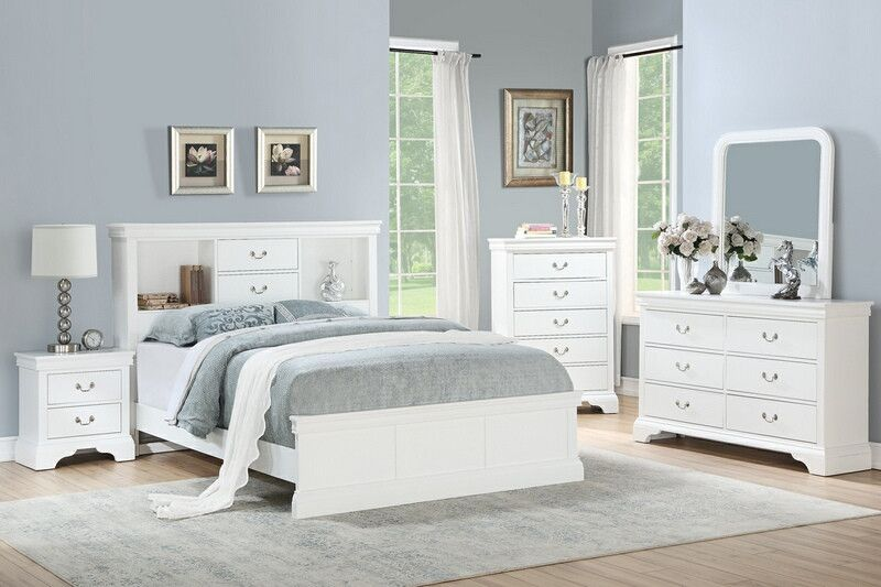 Poundex F9422q 4 Pc Bellagio White Finish Wood Bookcase Queen Bed