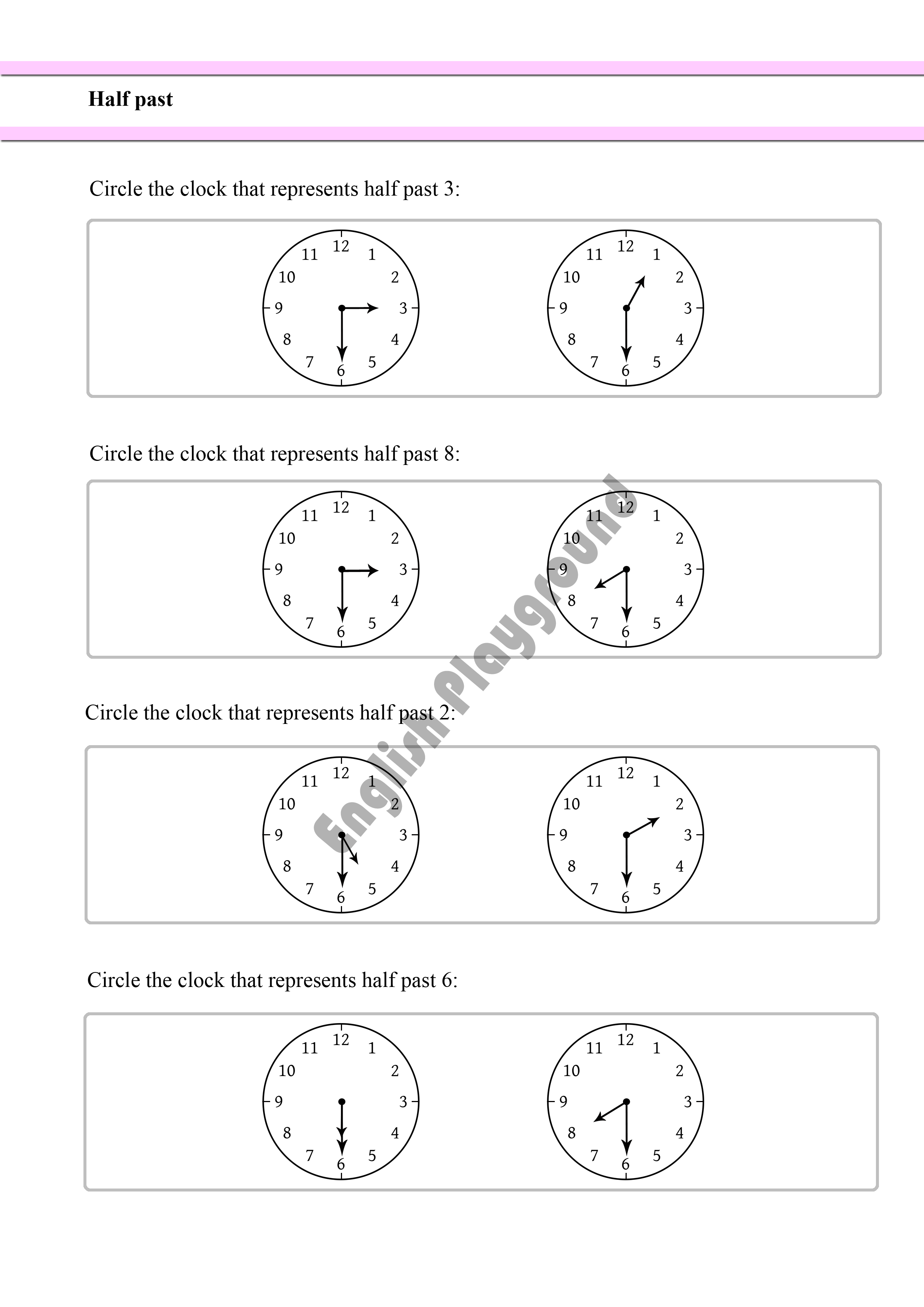 Telling The Time Half Past Introduction For Year 1