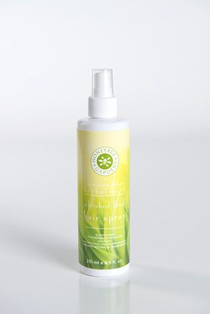 Alcohol Free Hair Spray - Herbal Mint  Keep hair perfectly styled all day long, with strong but natural-looking hold. Our non-aerosol hair spray is enriched with organic botanical ingredients to nourish hair and increase shine. The alcohol-free formula means it is non-drying, so your hair stays soft and touchable. Clean herbal mint scent. For all hair types. http://www.honeybeegardens.com/product/hair-body/hsprayherb.html