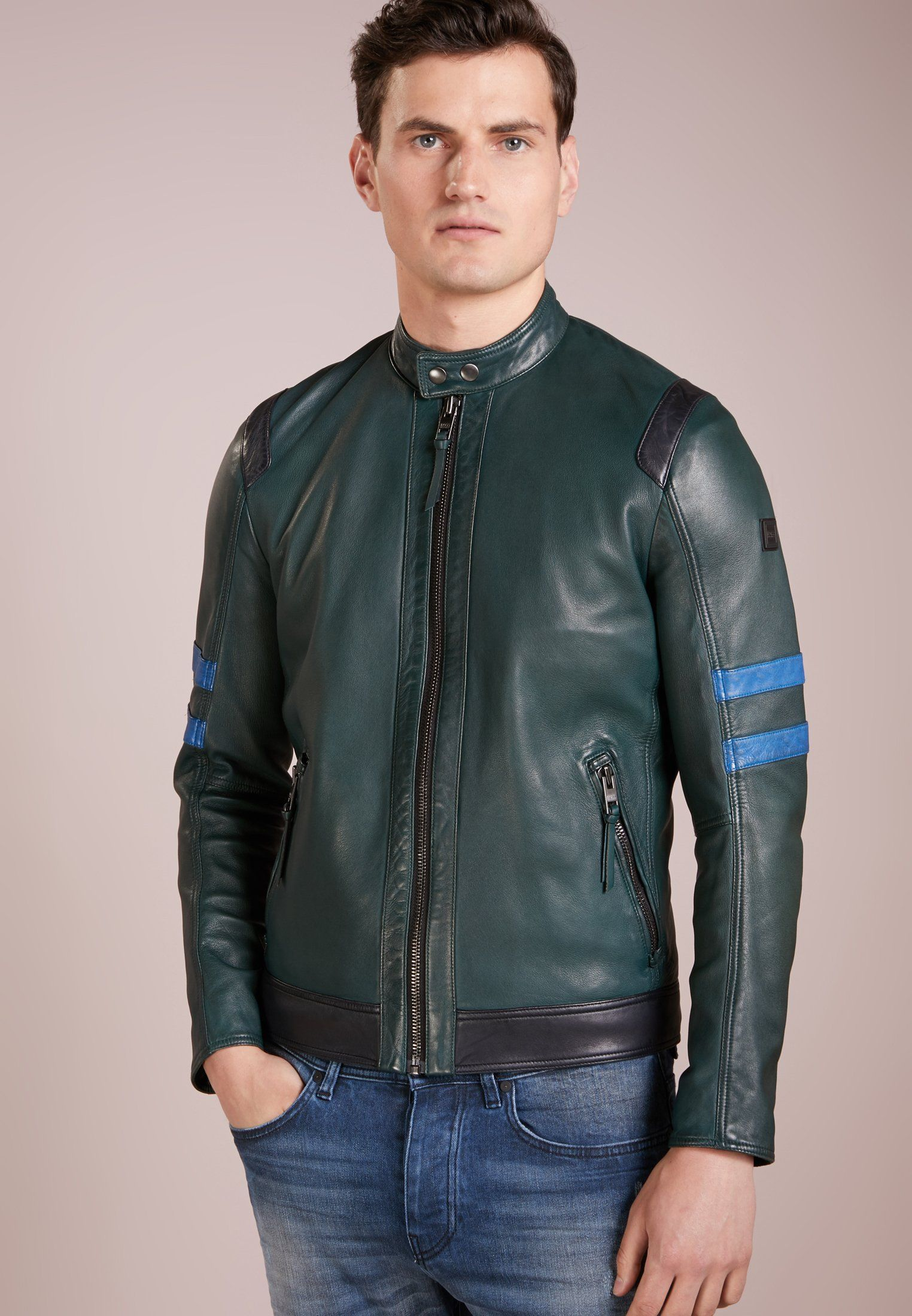 8a38c9ca5bb95 JAYLO - Leather jacket - dark green   Mens Leather Bomber Jacket ...