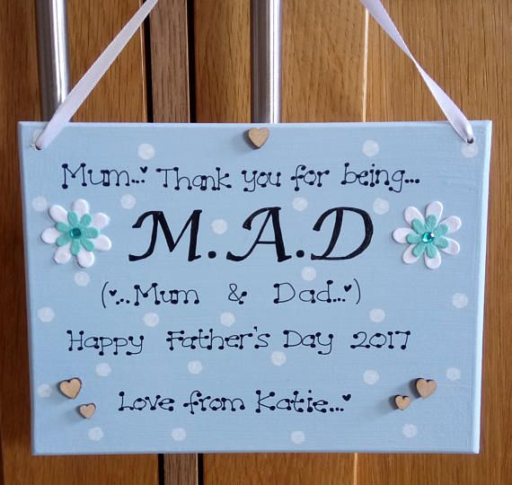 Personalised Thank You For Being Mad Mum Dad Single Mother Fathers Day Gift Plaque