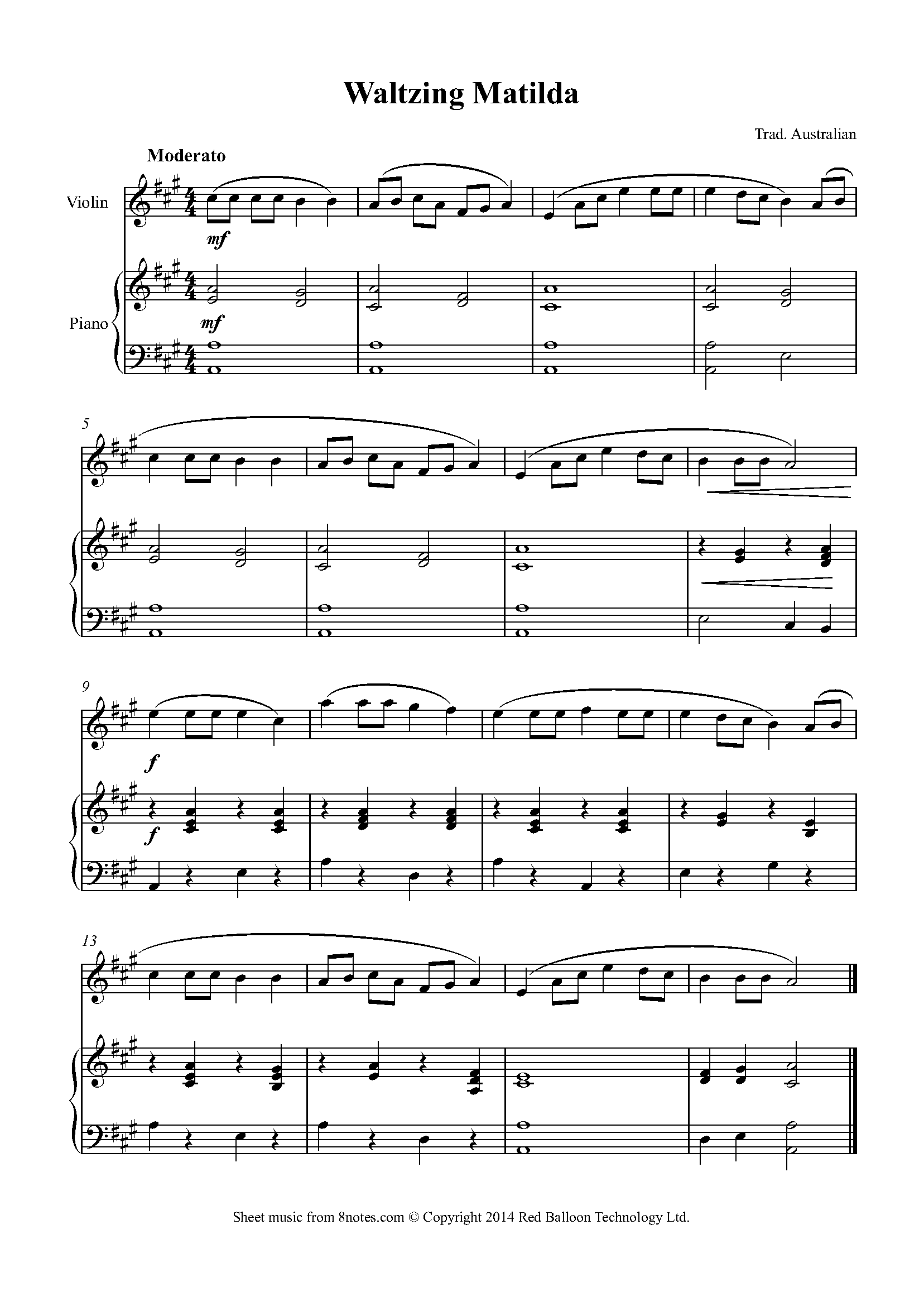Waltzing Matilda Sheet Music For Violin