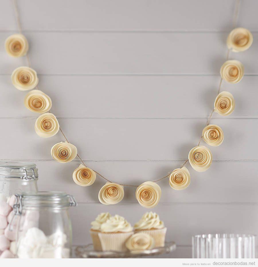 Guirnalda flores papel DIY decorar bod | Boda | Pinterest | Bodas ...
