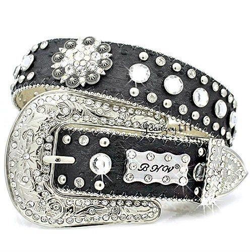 BROWN OR BLACK Western Style Leather Bling Belt
