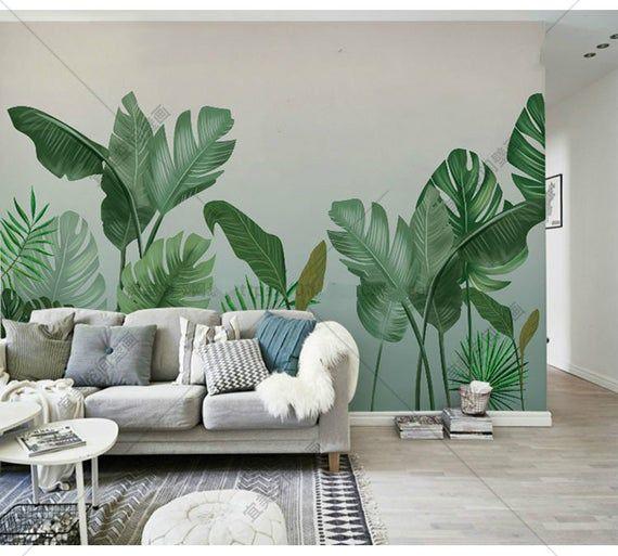 Tropical Plants Wall Mural Wall Decor Wall Decor Rainforest Tropical Plants Wall Mural Hand Painted Tropical Plants Wallpaper Wall Mural