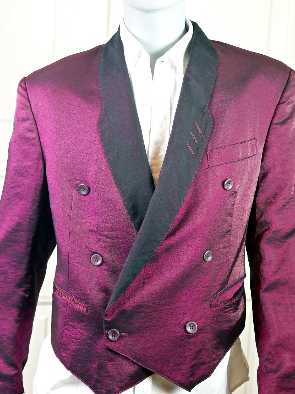 European Vintage Tuxedo Jacket Short Purple, Double-Breasted Short ...