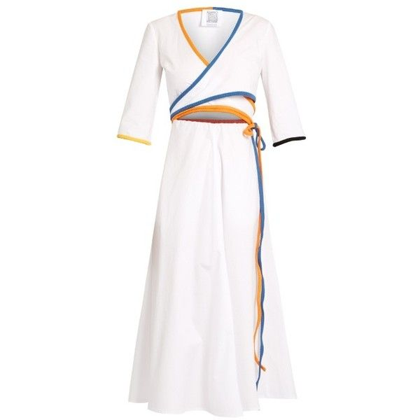 Rosie Assoulin Rainbow-trim cotton wrap dress (€930) ❤ liked on Polyvore featuring dresses, white cotton dress, wrap dress, rosie assoulin dress, cut-out dresses and rosie assoulin