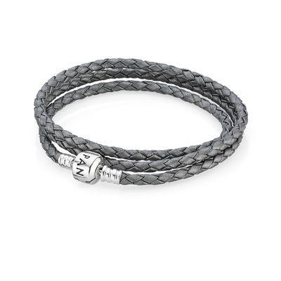 Triple Bracelet Tressé en Cuir - Gris | Bracelet pandora ...