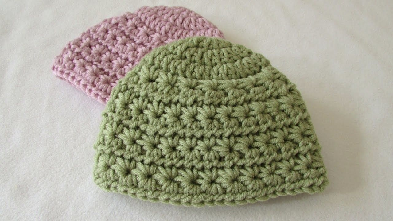 How to crochet a chunky star stitch baby hat | Pinterest