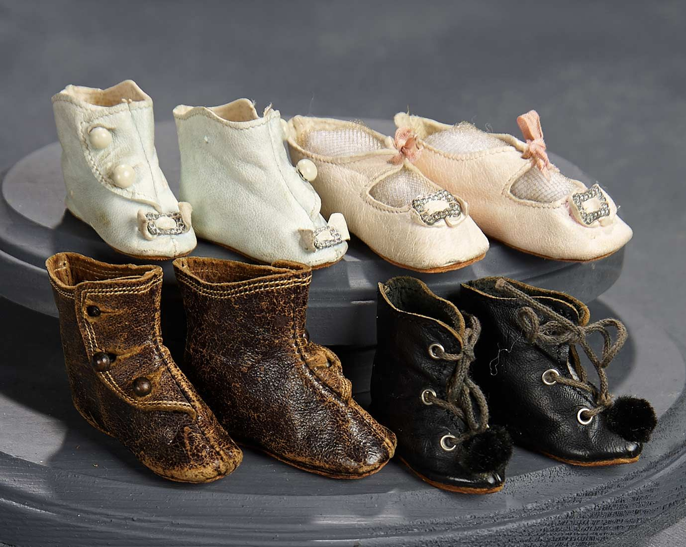 """What Finespun Threads"" - Antique Doll Costumes, 1840-1925 - March 12, 2017: 329 Four Pairs of Kid Shoes"