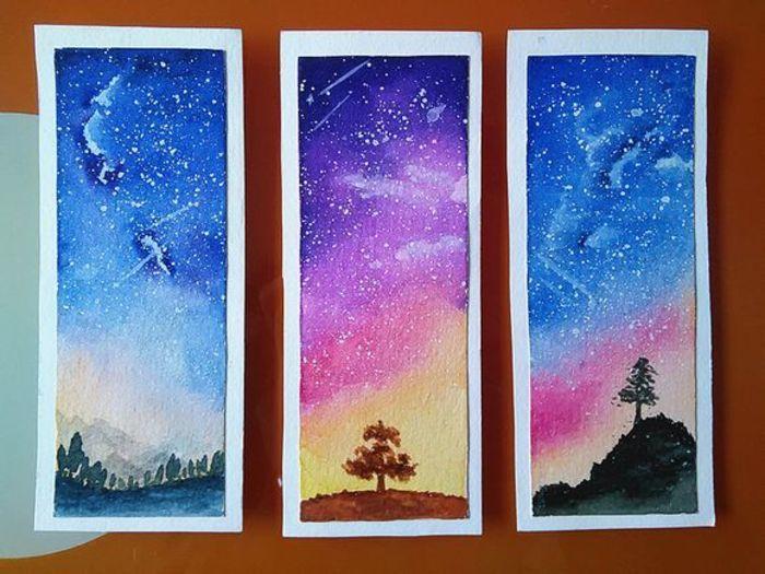 手绘水彩 星空 Watercolor Bookmarks Galaxy Painting Colorful Art