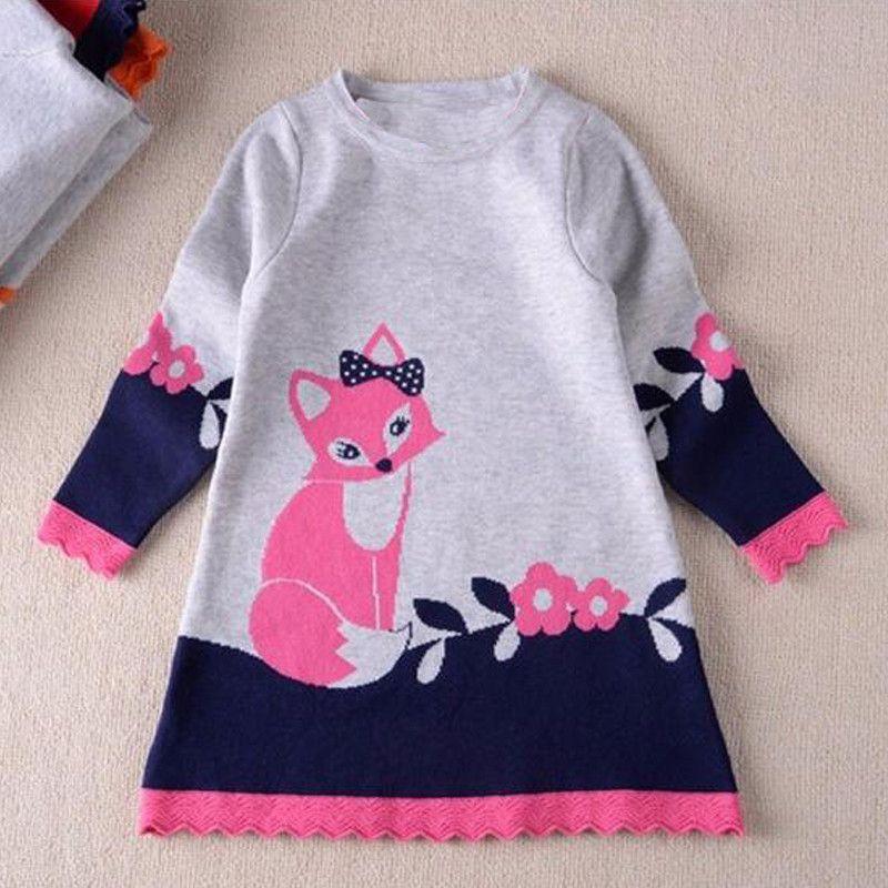 7321f9fc0b9d Kids Winter Warm Dress Fashion Girl A-line fox Sweater Dresses ...